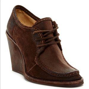 FRYE Carolina Lace Up Wedge Ankle Boots.